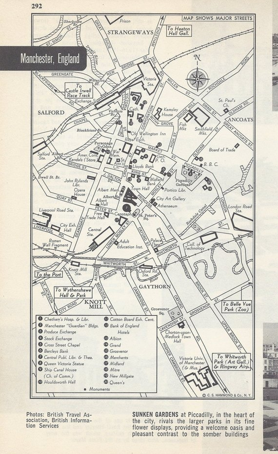 Map Of Europe 1950s.Manchester England Map City Map Street Map 1950s Europe Black