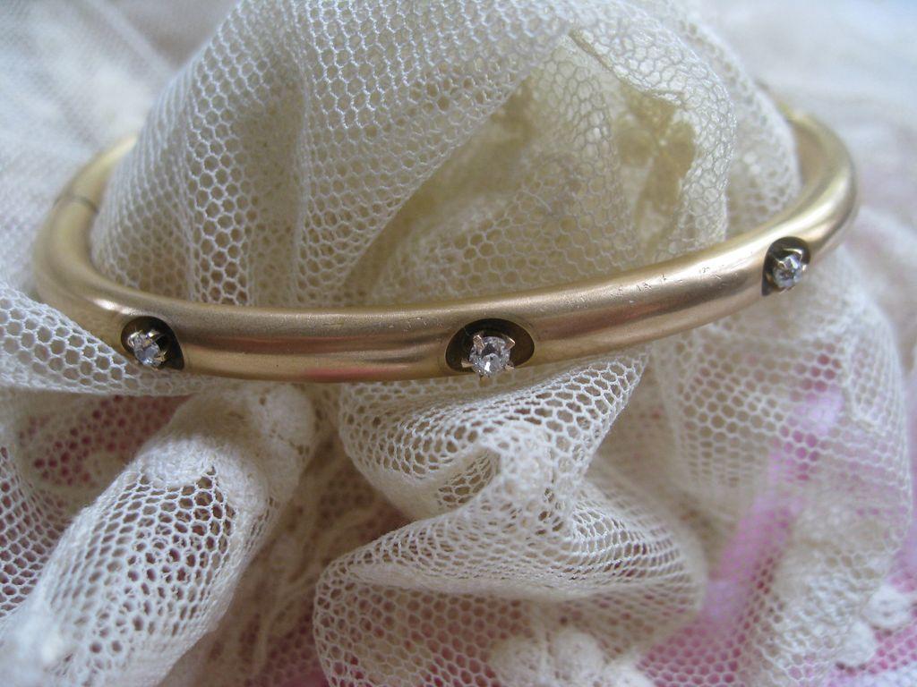 Antique 9C Diamond  Bangle Bracelet 1906