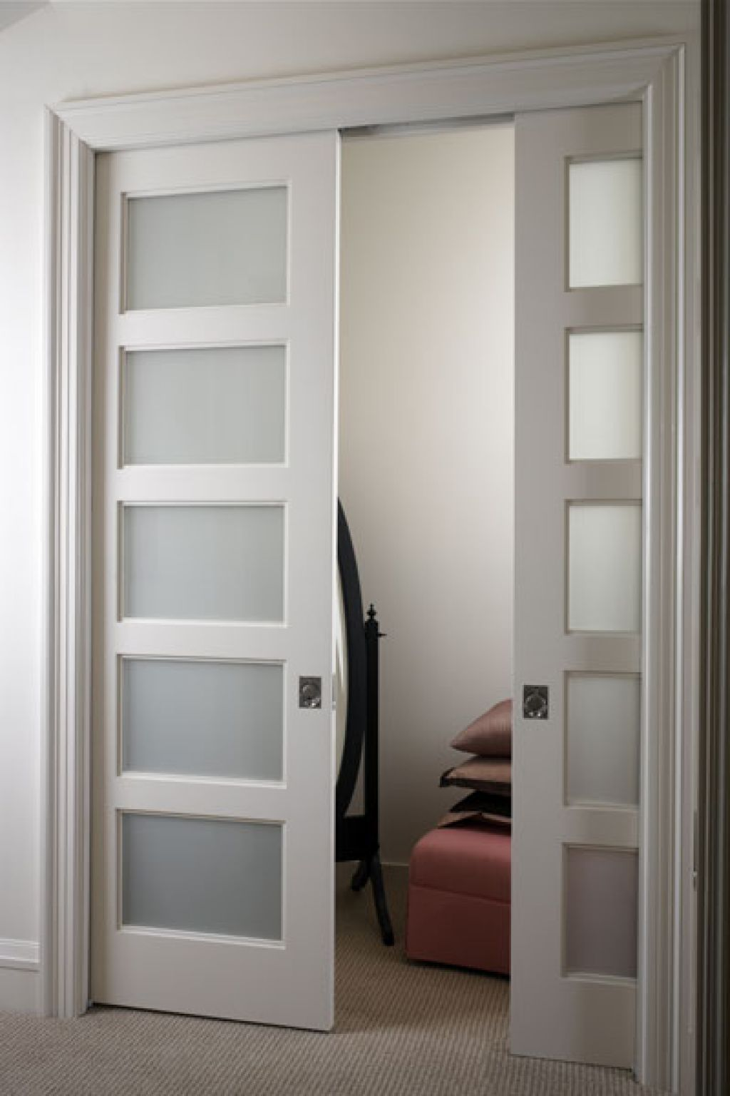 Example Of A Door With Frosted Glass Installed Into It Glass Pocket Doors Interior Pocket Doors Wood Doors Interior