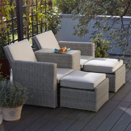 Praslin Rattan Effect Love Seat Sunlounger: Image 2