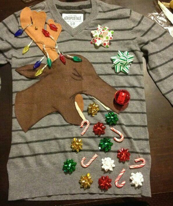 3d0c06ef5c ... very own ugly Christmas sweater! Throw up reindeer
