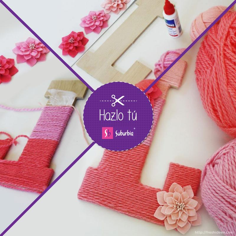 #HazloTú y decora fácilmente el cuarto de tu bebé. Traza su inicial en madera o cartón, enreda estambre de colores y personaliza con flores.