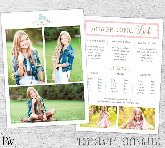 Photography Pricing Template, Photoshop Template, Marketing, Price - Price Sheet Template