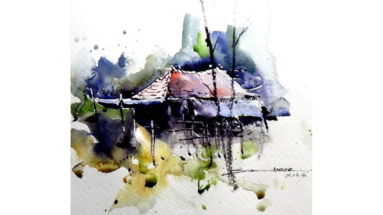 Watercolor Landscape Painting By Sikander Singh Chandigarh India