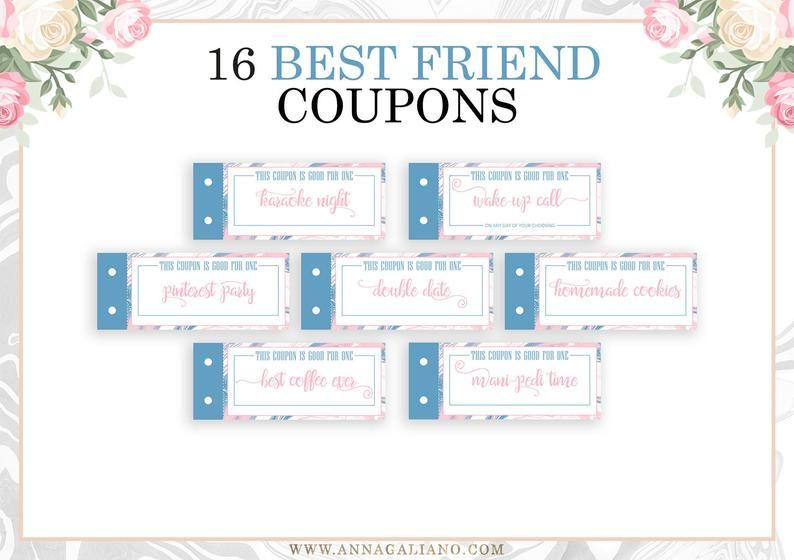 Best friends gift printable coupons coupon book