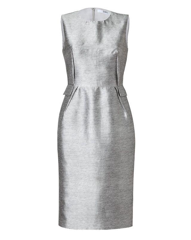 PRABAL GURUNG Silk-Cotton Darted Sheath Dress in Heather Grey