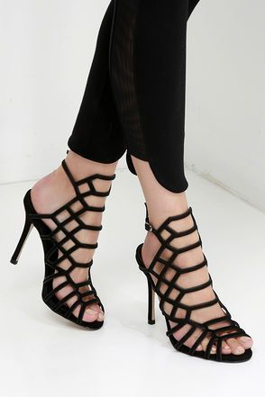 Steve Madden Slithur Black Nubuck Leather Caged Heels