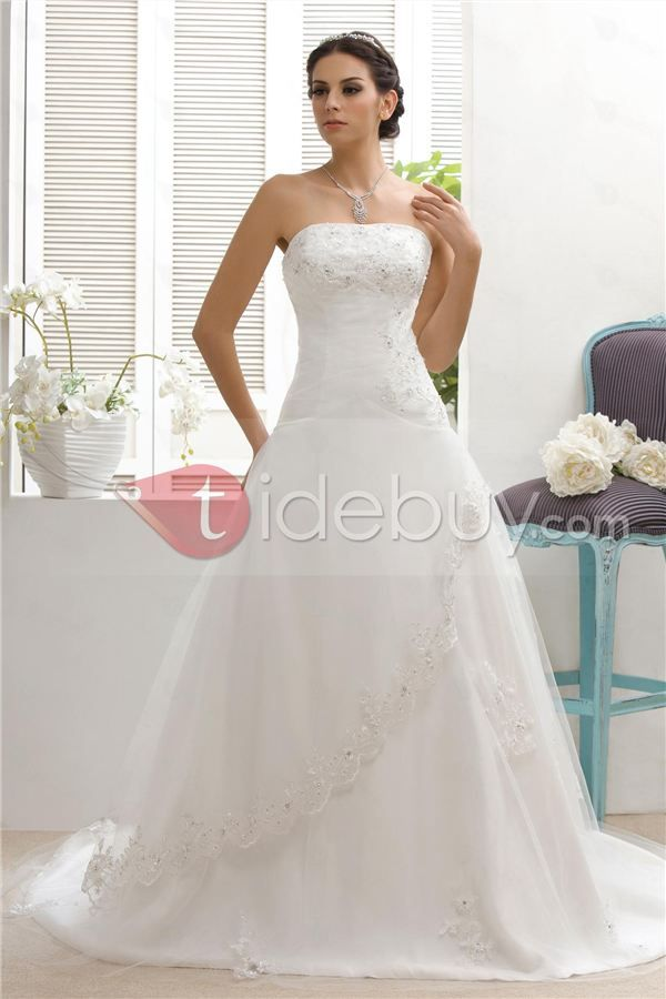 Timeless A Line Strapless Appliques Chapel Train Talines Wedding Dress Tidebuy
