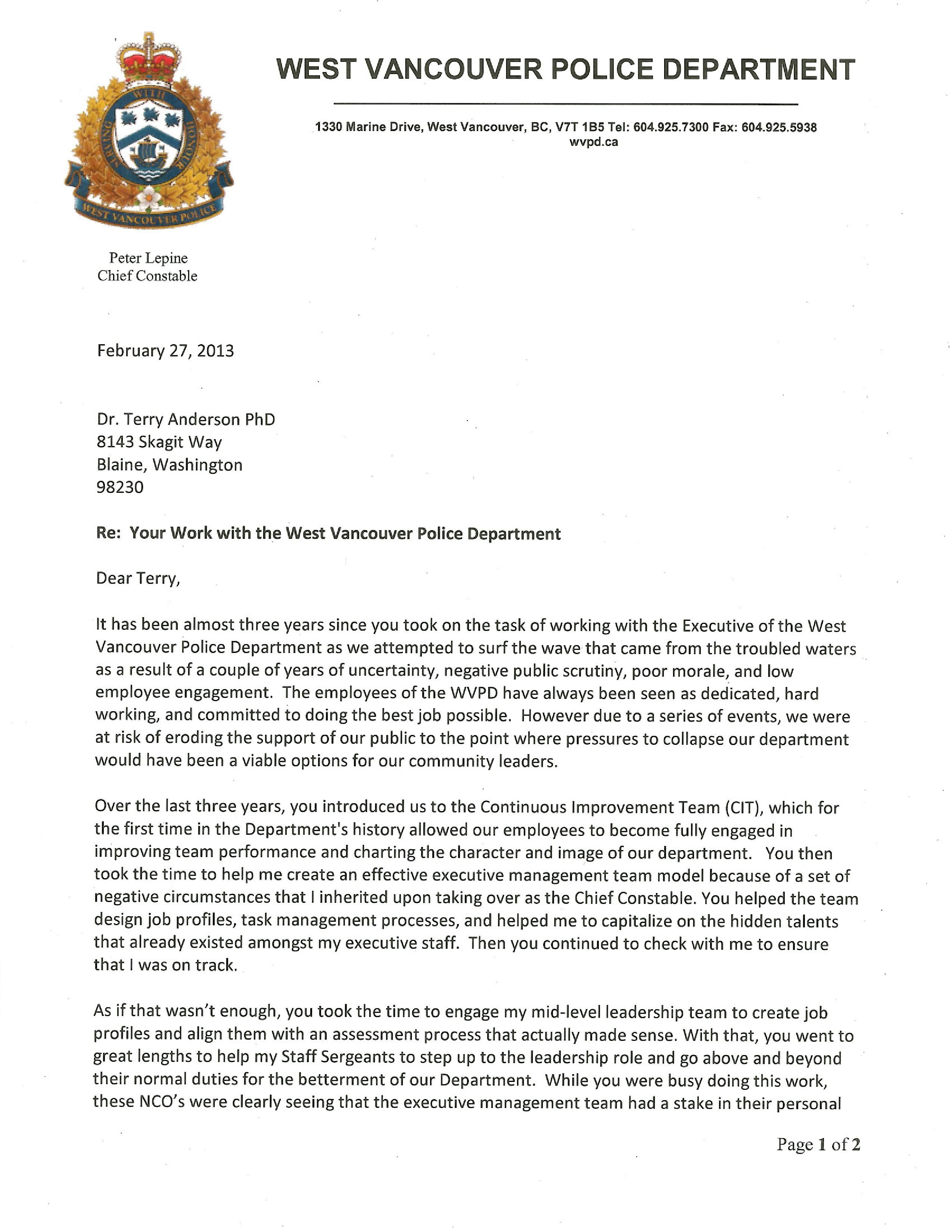 Letters Of Recommendation Consulting Coach Anderson
