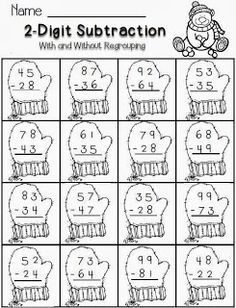 Worksheets Christmas Subtraction Problems 2 digit subtraction winter theme free math for second grade christmas worksheetsfree