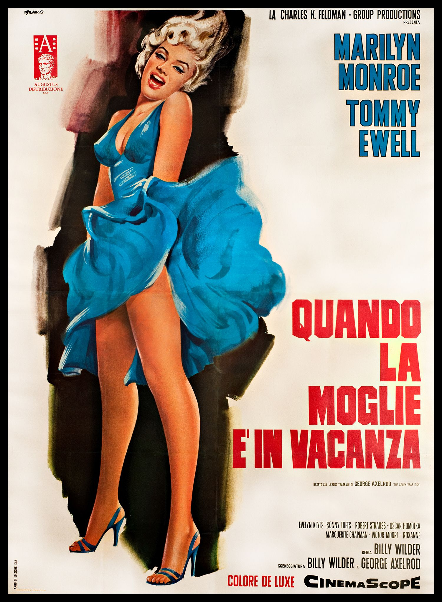 The Seven Year Itch Italian Movie Poster 1955 Italian Movie Posters Marilyn Monroe Movie Posters