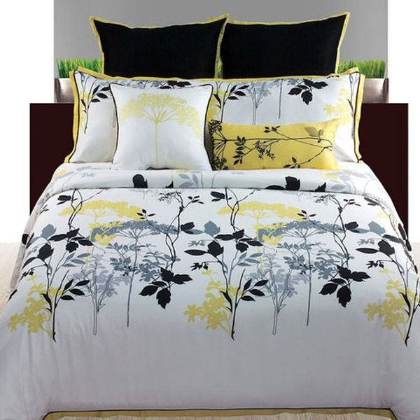 Gramercy Park White Yellow And Black Floral 4 Piece Comforter Set Yellow Bedding Yellow And Gray Bedding Comforter Sets