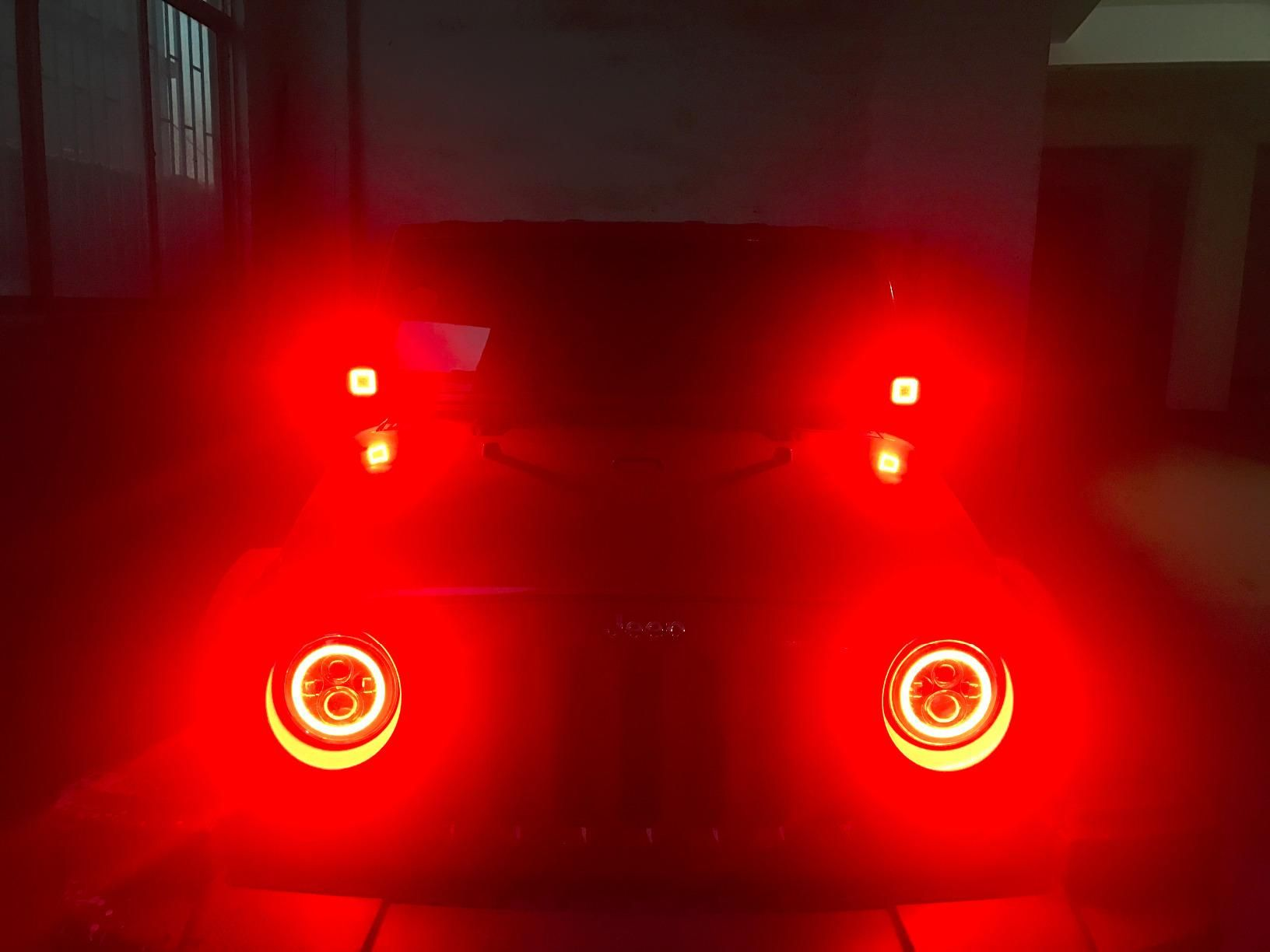 Super Bright Red Halo Headlights On A Jeep Almost Blind My Eyes