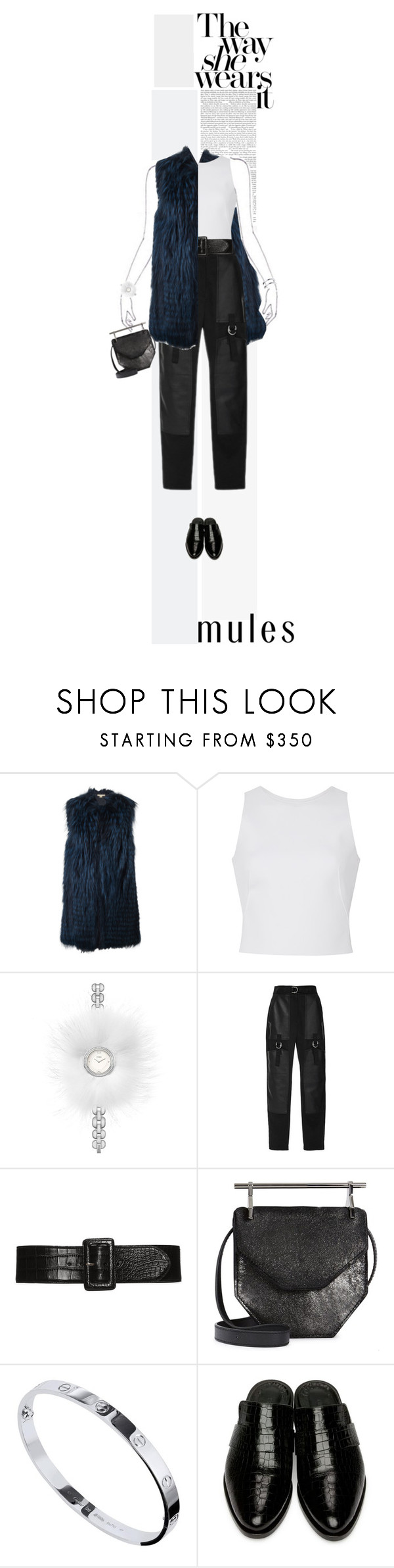 """""""Slip 'Em On"""" by poison-iivy ❤ liked on Polyvore featuring Michael Kors, Carolina Herrera, Fendi, Alexander Wang, M2Malletier, Cartier, Keen Footwear and mules"""
