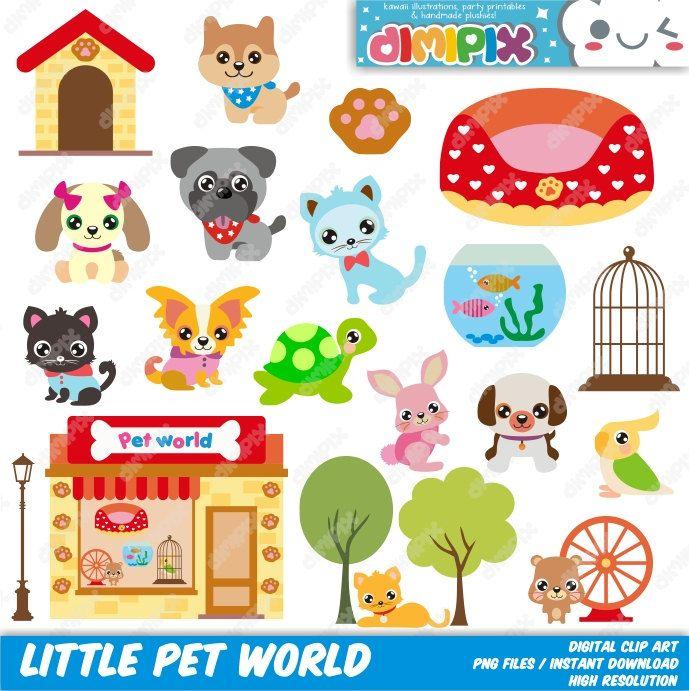 Little Pet World Pet Shop Pet Store Clip Art Set Kit Clip Art