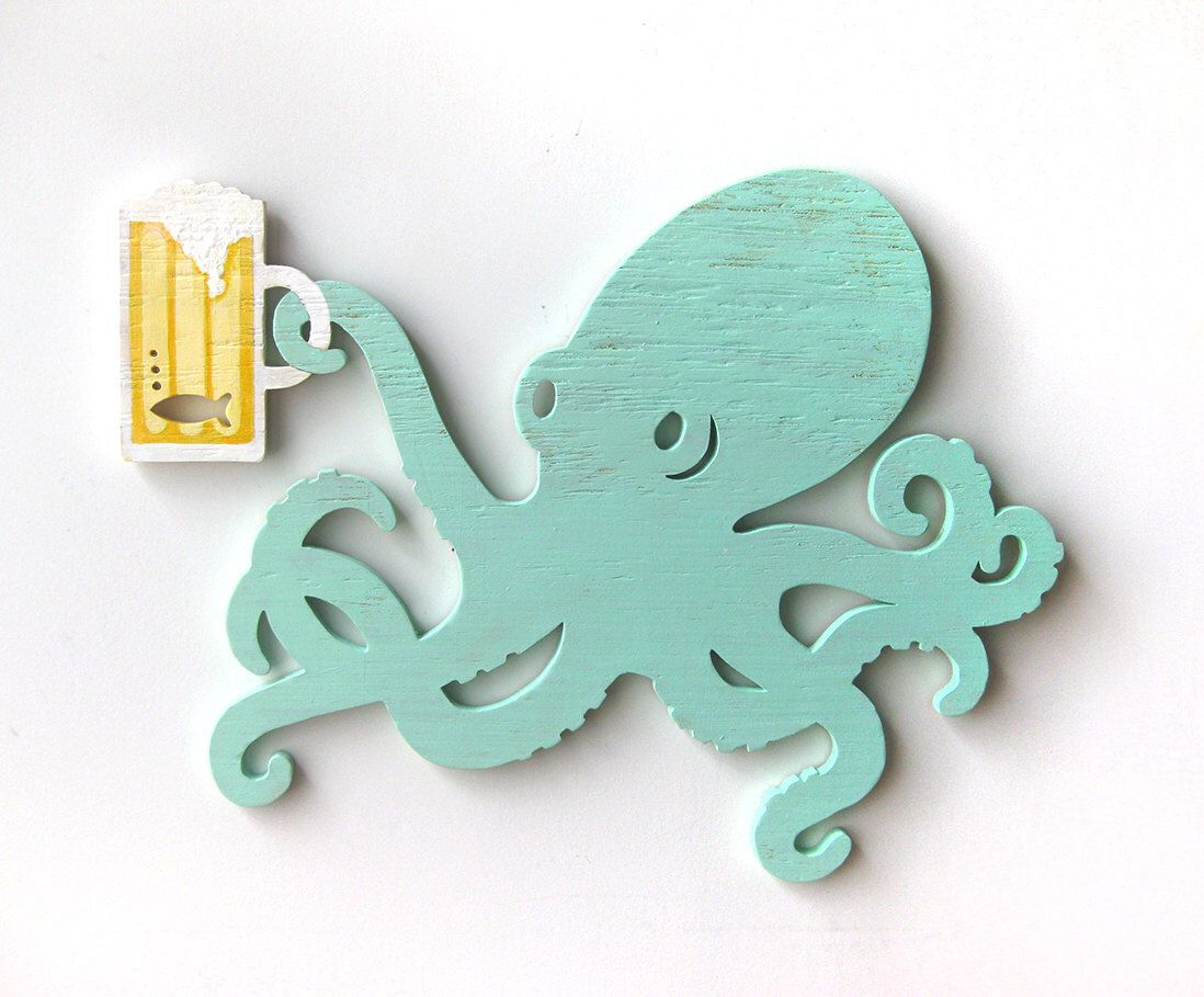 Octopus, beer, wall art, wood sign, gift for him, beach ...