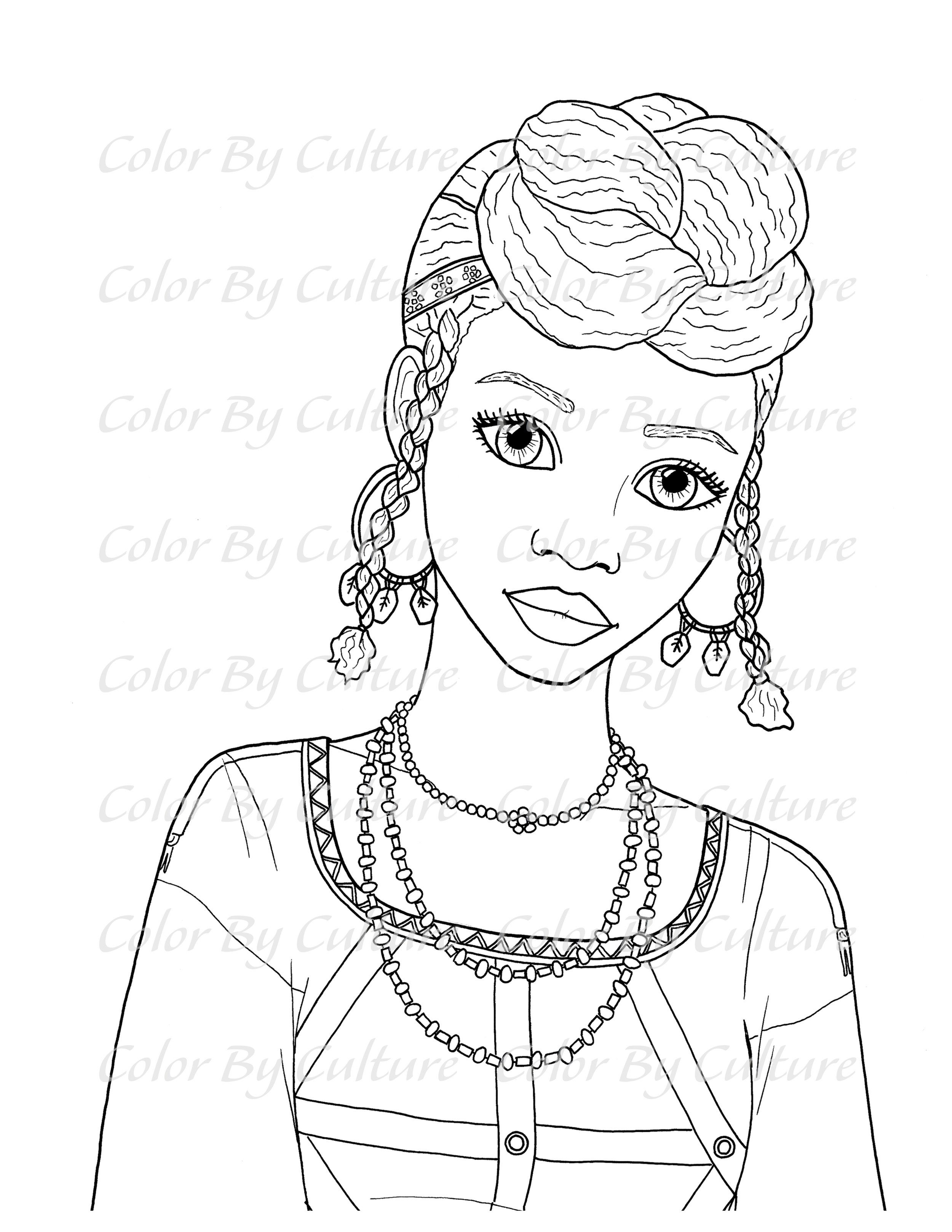 Wodaabe Woman Coloring Page Color By Culture Coloring Pages Coloring Pages Inspirational Coloring Pages For Girls