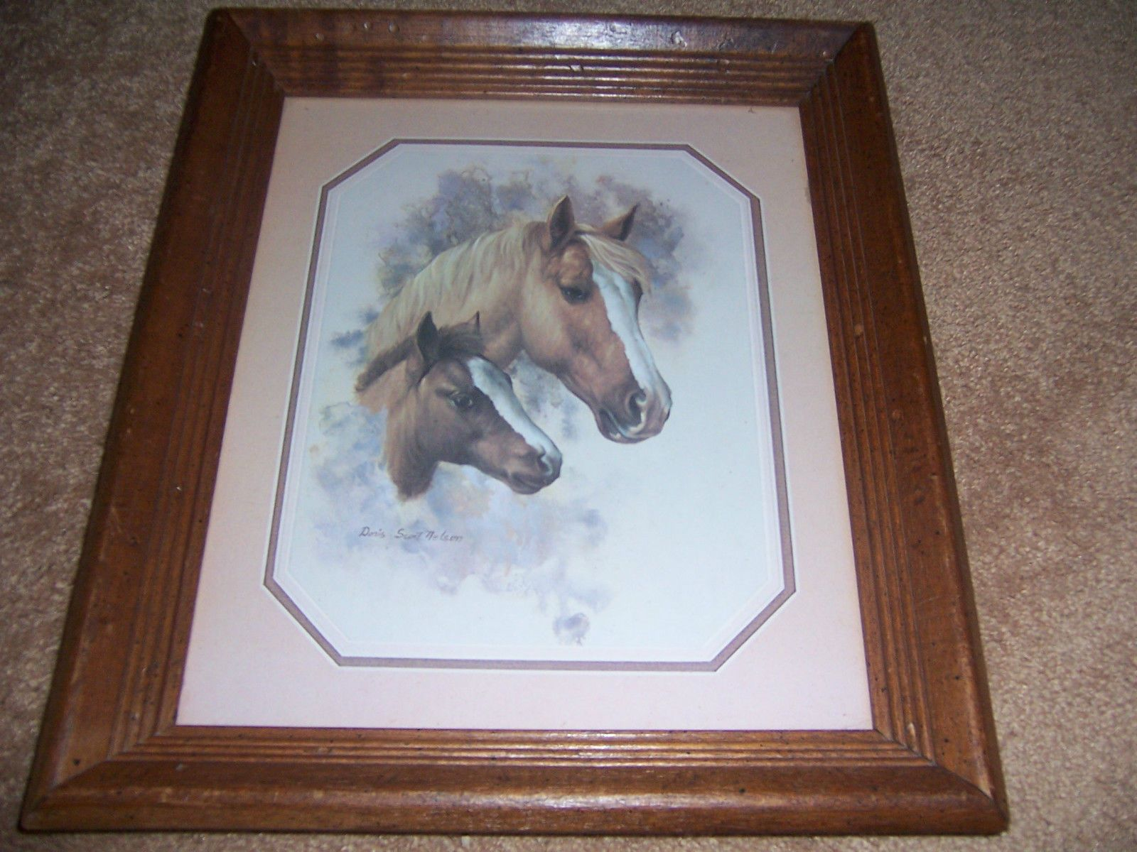 Vintage Homco Home Interior Horse Mare And Foal Wood