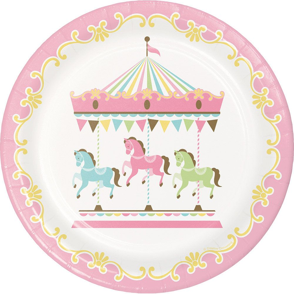 Pastel Carousel Party Plates/ Carousel Party Plates