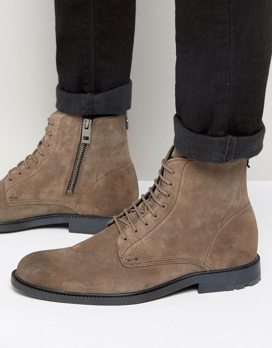 BOSS ORANGE BY HUGO BOSS CULTROOT SUEDE LACE UP BOOTS - GRAY. #bossorange #