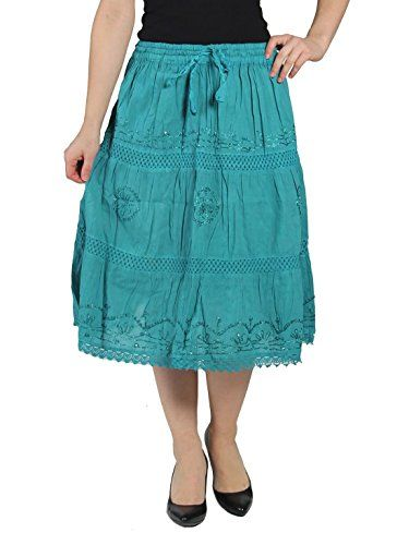 1814618b2 KayJay Styles® Solid Color Bohemian Hippie Belly Gypsy Short Cotton Mid  Length Skirt (Teal