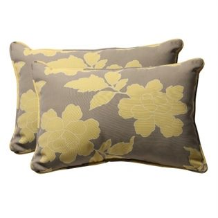 Pillow Perfect 451985 Decorative Gray Yellow Floral Toss Pillow