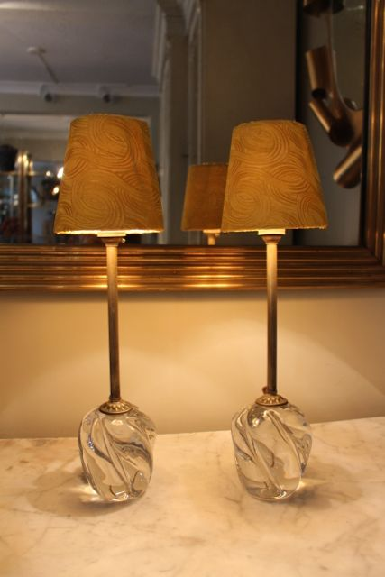 A fine quality pair of solid glass 1950s french table lamps by a fine quality pair of solid glass french table lamps by daum france recently rewired to uk standards keyboard keysfo Image collections