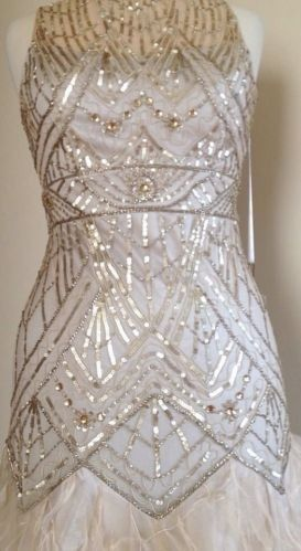 301ec58e639c7 Sue Wong Champagne Silver Sequin Embellished Feather Bridal Prom Ball Gown  2 | eBay