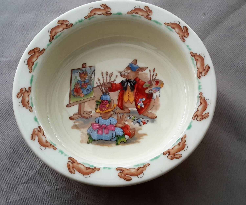 Royal Doulton Bunnykins English Fine Bone China Dish Childrens Plate Vintage Pottery Dishes Royal Doulton Plates