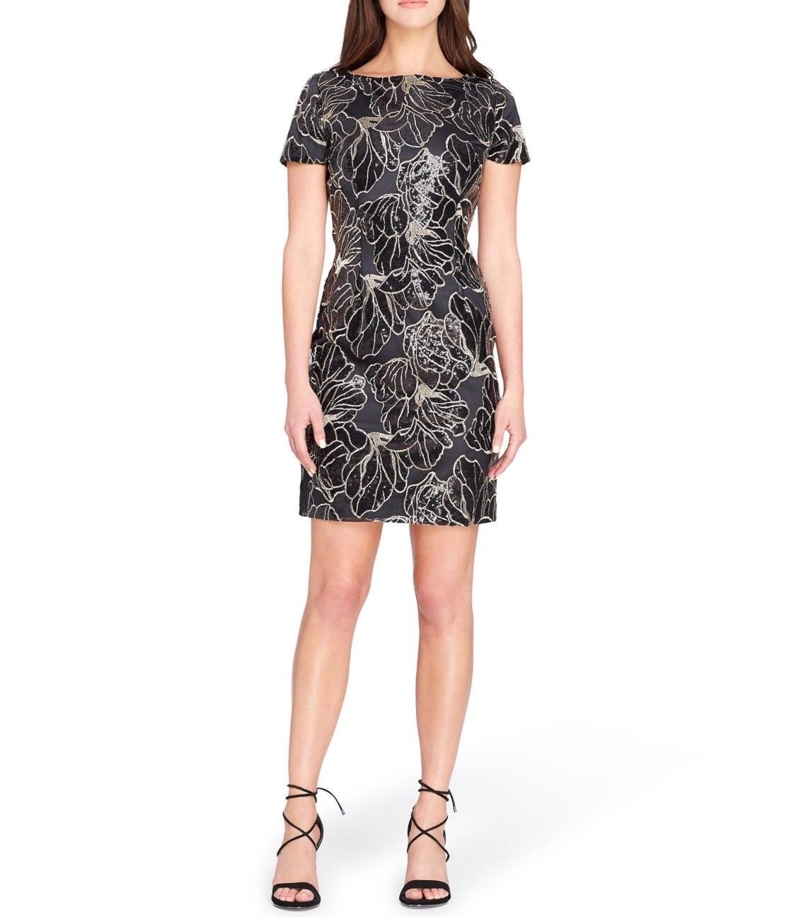 Tahari Asl Sequin Embroidered Sheath Dress Nwt Black And Gold Cocktail Dress Dresses Floral Sheath Dress Sheath Dress [ 1296 x 1115 Pixel ]