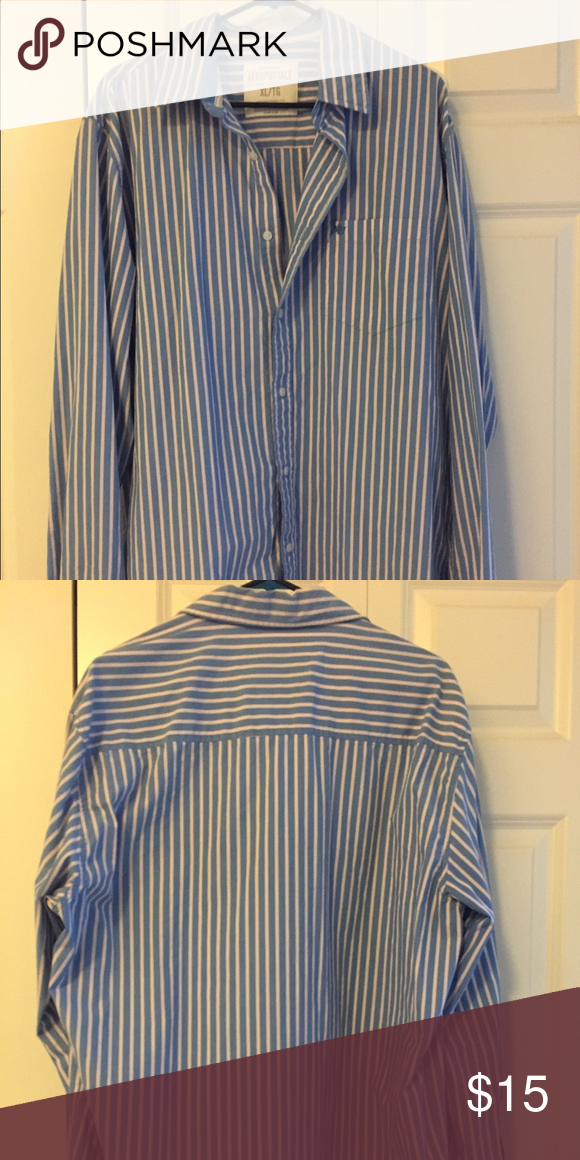 Men's XL shirt- great quality barely worn! Blue and white stripes that have a little bit of pink as well. Aeropostale Shirts Dress Shirts