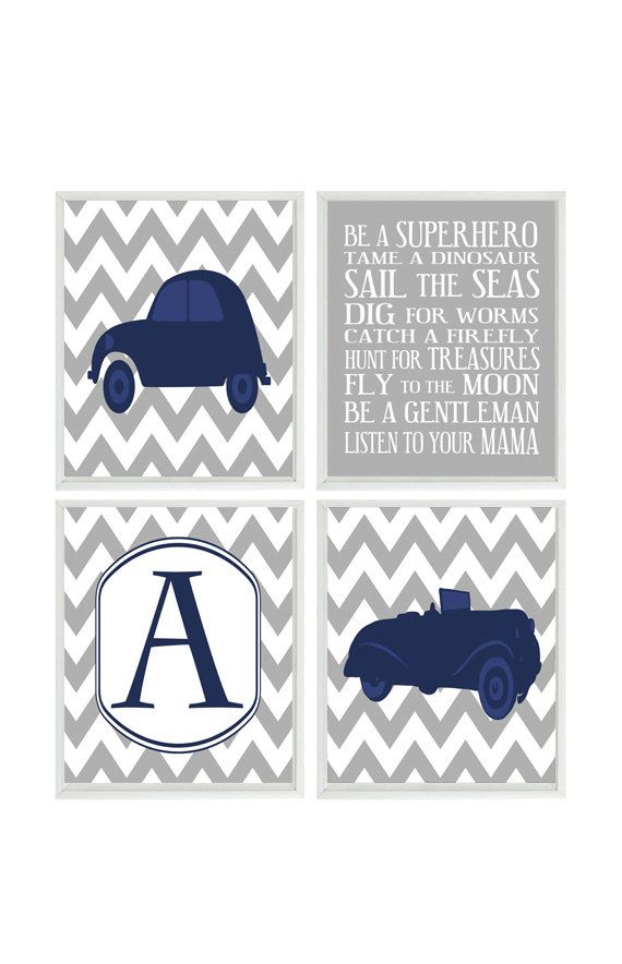 Vintage Car Wall Art Baby Boy Nursery Rules Print Personalized Prints Retro Room Decor