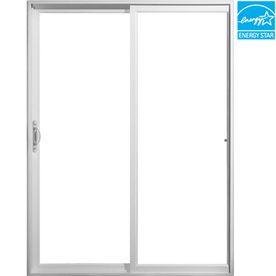 Jeld Wen Glass White Vinyl Sliding Patio Door With Screen Jwvyl Le 6068 Lh