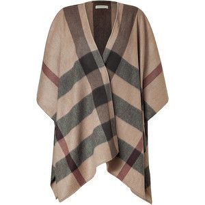 Burberry London Smoked Trench Check Cashmere Cecily Cape - LoLoBu
