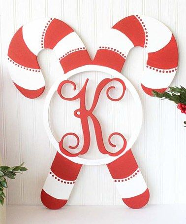 Look what I found on #zulily! Unfinished Candy Cane Initial Wall Art by Whimsy Timber #zulilyfinds