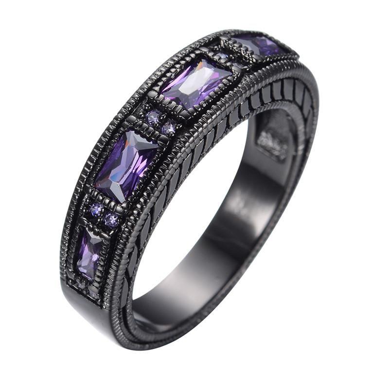 June Black Gold Filled Ring In 2019 Amethyst Wedding Rings