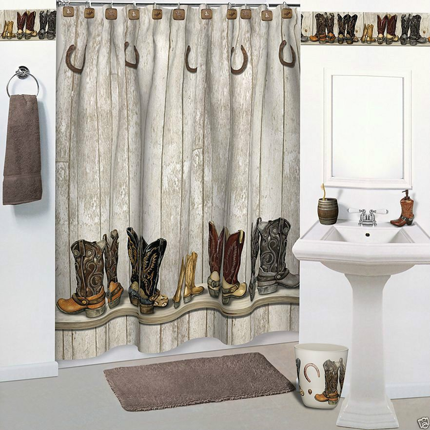 Cowboy Western Saddle Up Beige Bathroom Accessories 7 Pc Set