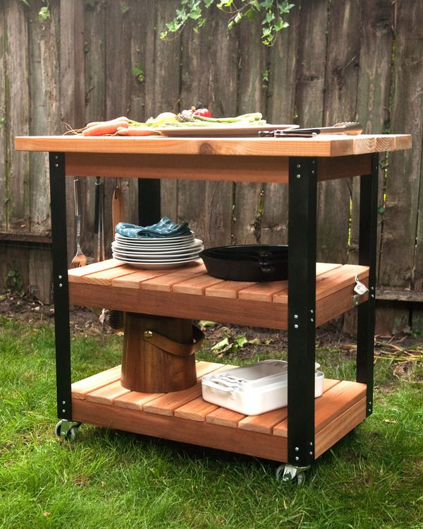 How To Make A Diy Rolling Grill Cart And Bbq Prep Station Grill Cart Wood Patio Furniture Outdoor Kitchen Bars