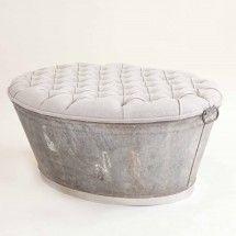 Repurpose tub into ottoman.