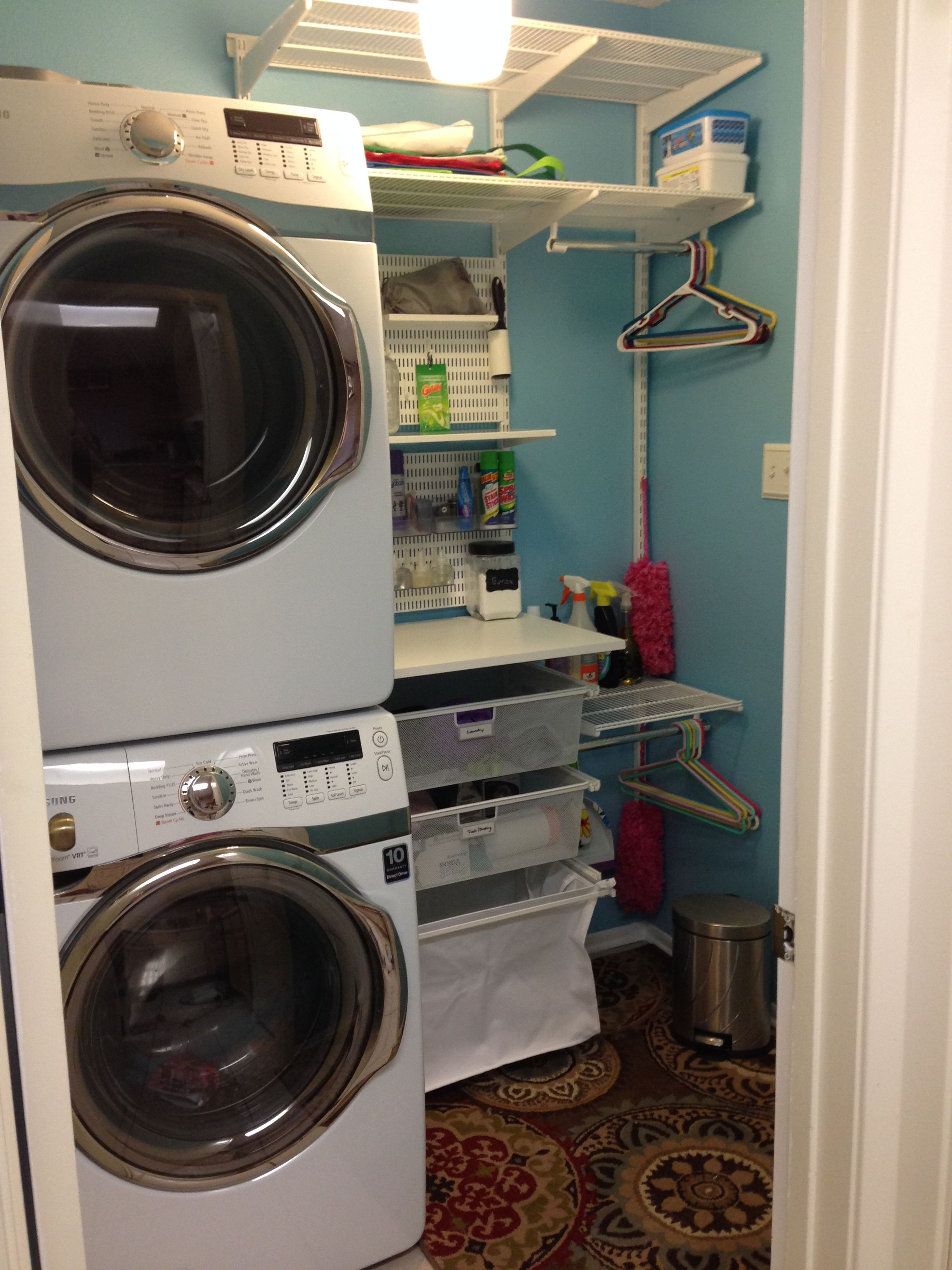 Tiny laundry room, stacked washer dryer, elfa, organization