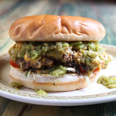 Green Chile Cheeseburgers by Saveur