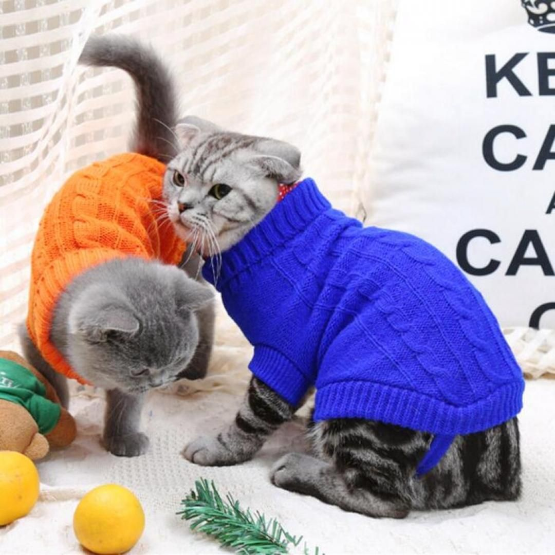 Stylish Knitted Sweater For Cats Cat Clothes Cat Sweaters Pet Sweater