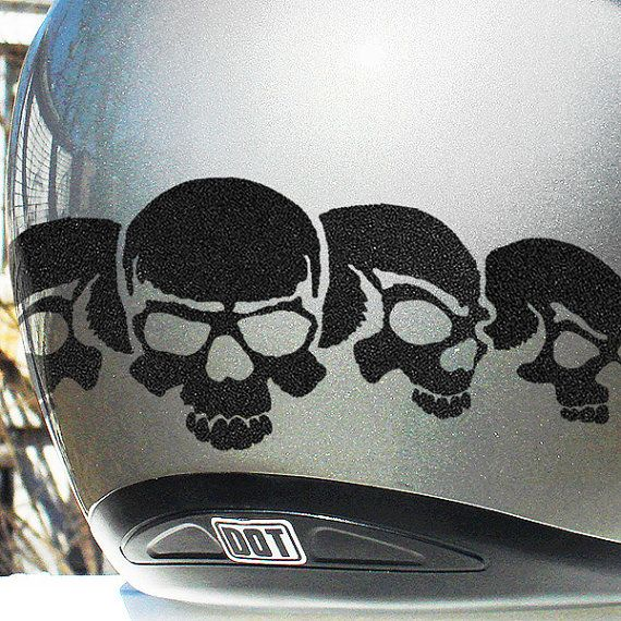 Five Skulls Reflective Decal Set Reflective Skulls Helmet - Vinyl stickers for motorcycle helmetsdragon hyper reflective decal motorcycle helmet safety sticker
