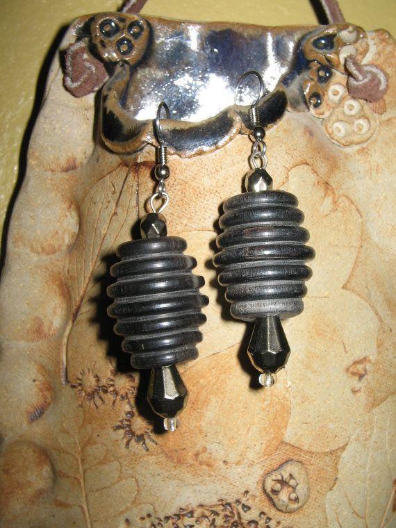Wooden black beaded earring set by Moonshinez on Etsy, $10.00