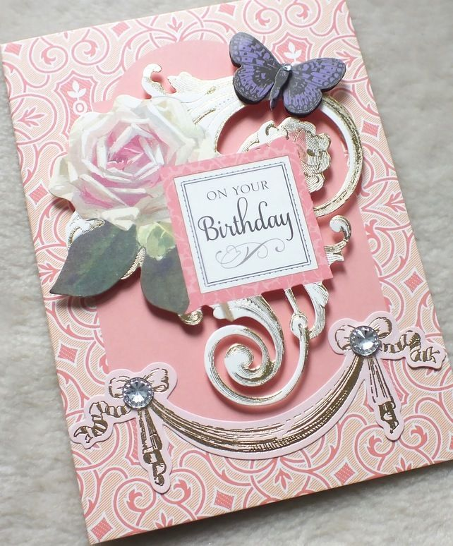 Luxury Handmade Vintage Birthday Card – Handmade Luxury Birthday Cards