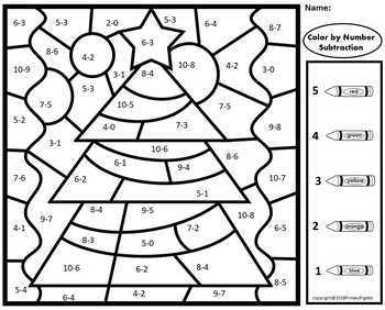 Color By Number Subtraction Christmas By Primary Piglets Tpt Christmas Subtraction Subtraction Math Coloring
