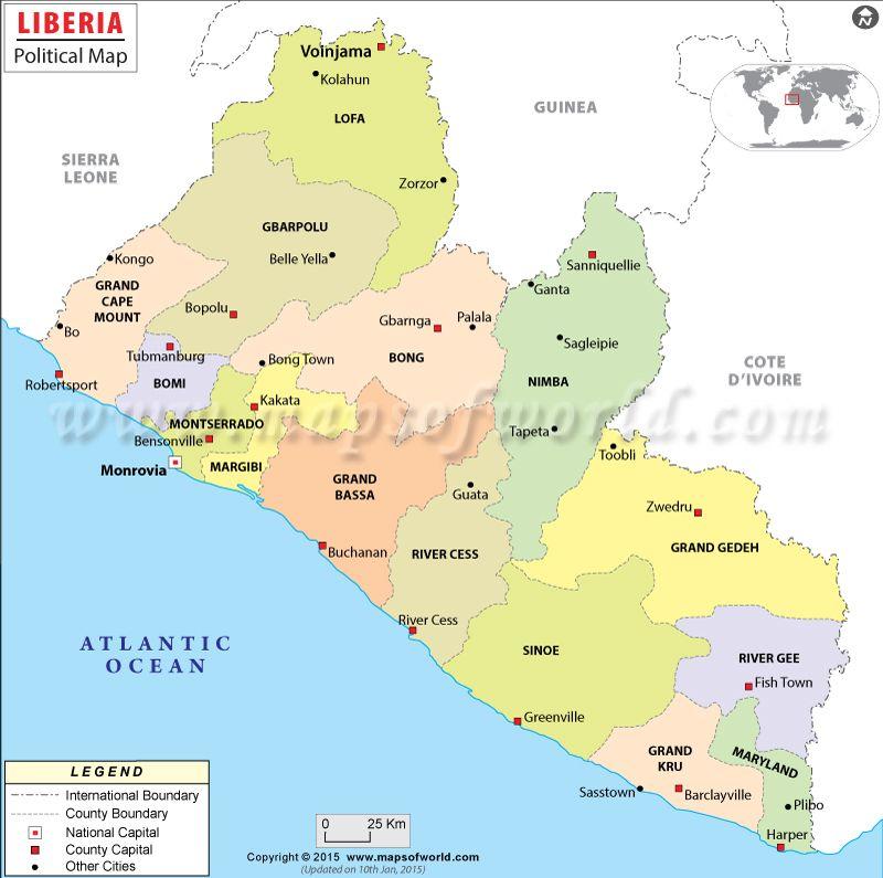 Liberia mapa, Mapa de Liberia Liberia, Africa and Norte - new taiwan world map images