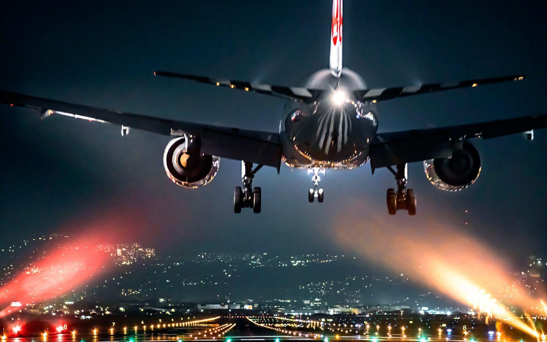 airplane take off at night wallpaper hd free download