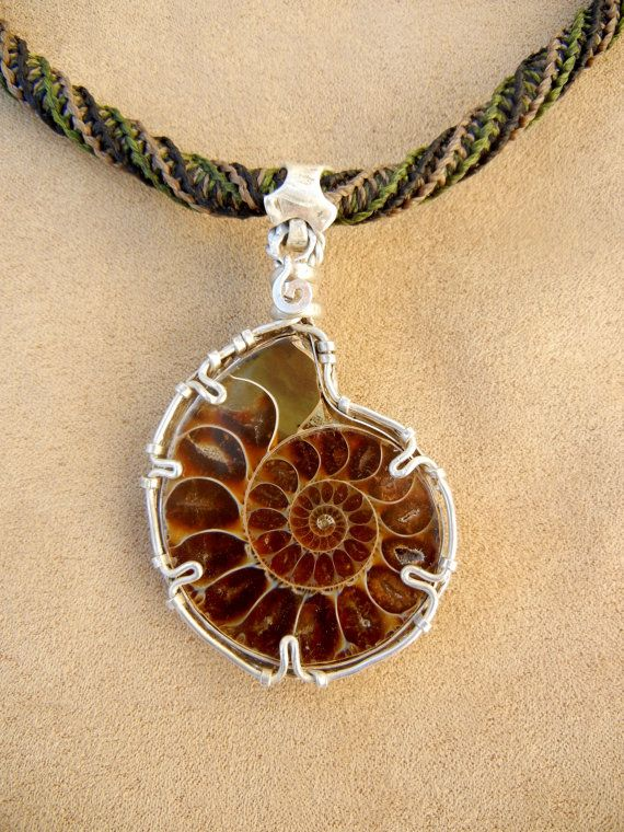 Hey i found this really awesome etsy listing at httpetsy items similar to ammonite necklace for men in green and beige micro macrame and wire wrapped filigree sterling silver on etsy aloadofball Images