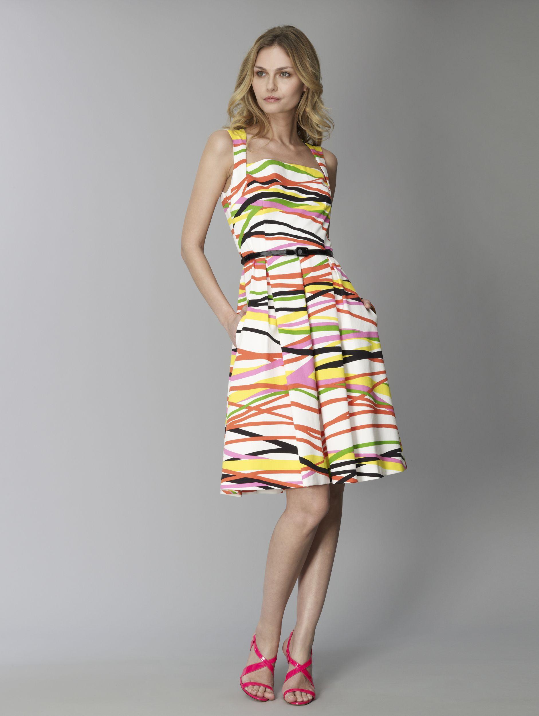 David Meister Wave Striped Poplin Dress.
